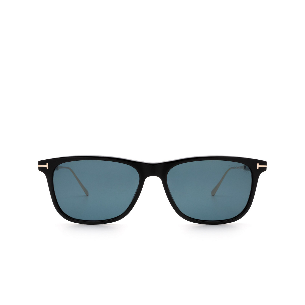 Tom Ford® Rectangle Sunglasses: Caleb FT0813 color Shiny Black 01V - front view.