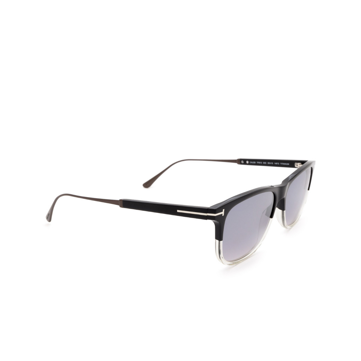 Tom Ford® Rectangle Sunglasses: Caleb FT0813 color Black & Crystal 03C - three-quarters view.