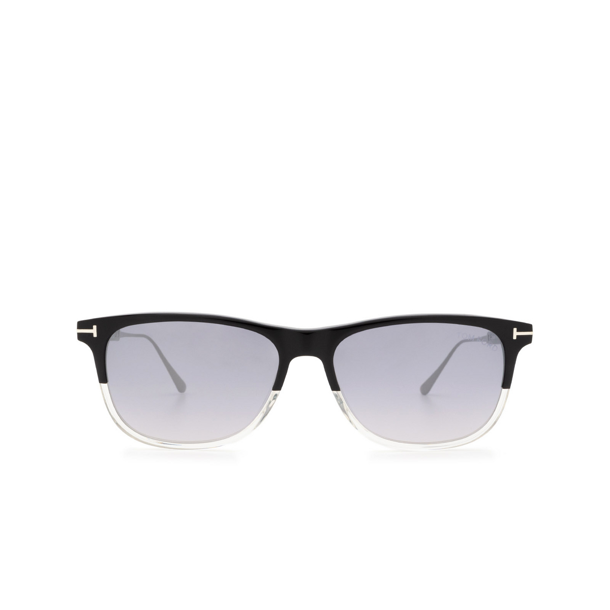 Tom Ford® Rectangle Sunglasses: Caleb FT0813 color Black & Crystal 03C - front view.