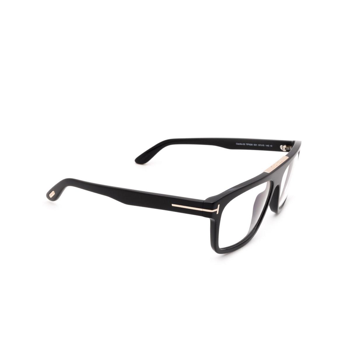 Tom Ford® Square Eyeglasses: Cecilio-02 FT0628 color Shiny Black 001 - three-quarters view.