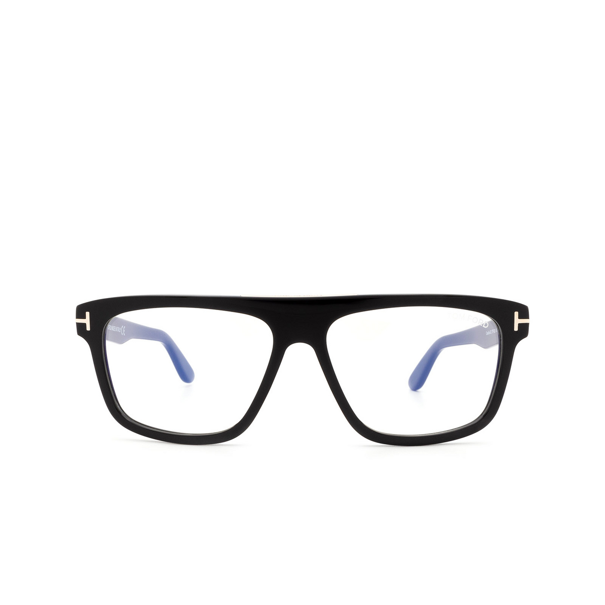 Tom Ford® Square Eyeglasses: Cecilio-02 FT0628 color Shiny Black 001 - front view.