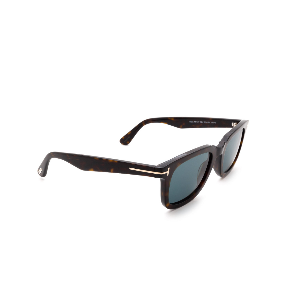 Tom Ford® Rectangle Sunglasses: Dario FT0817 color Dark Havana 52V - three-quarters view.