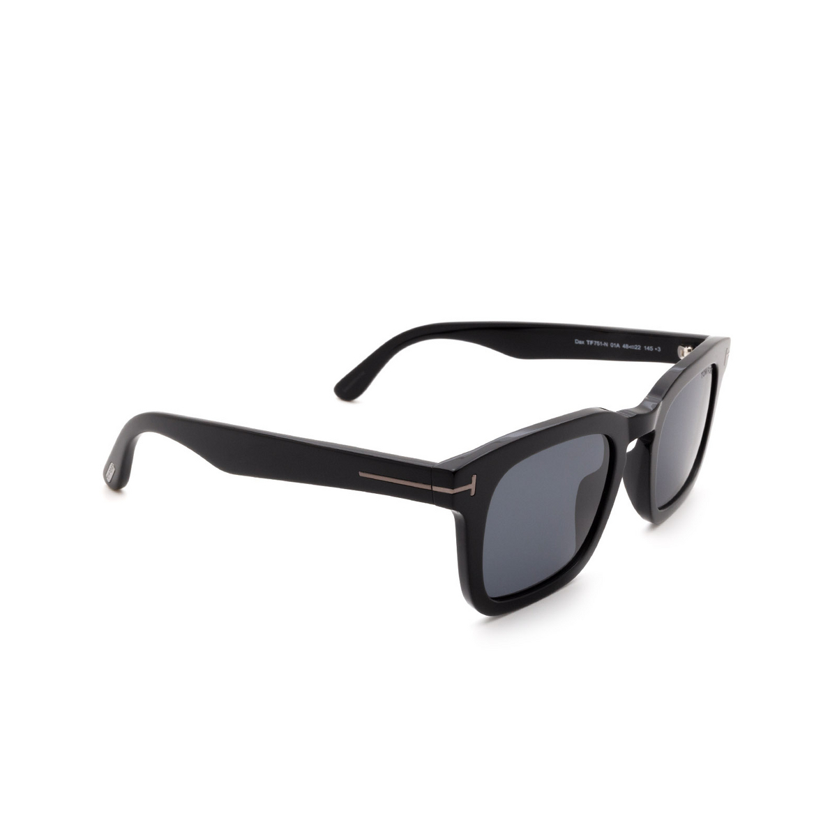 Tom Ford® Square Sunglasses: Dax FT0751-N color Shiny Black 01A.