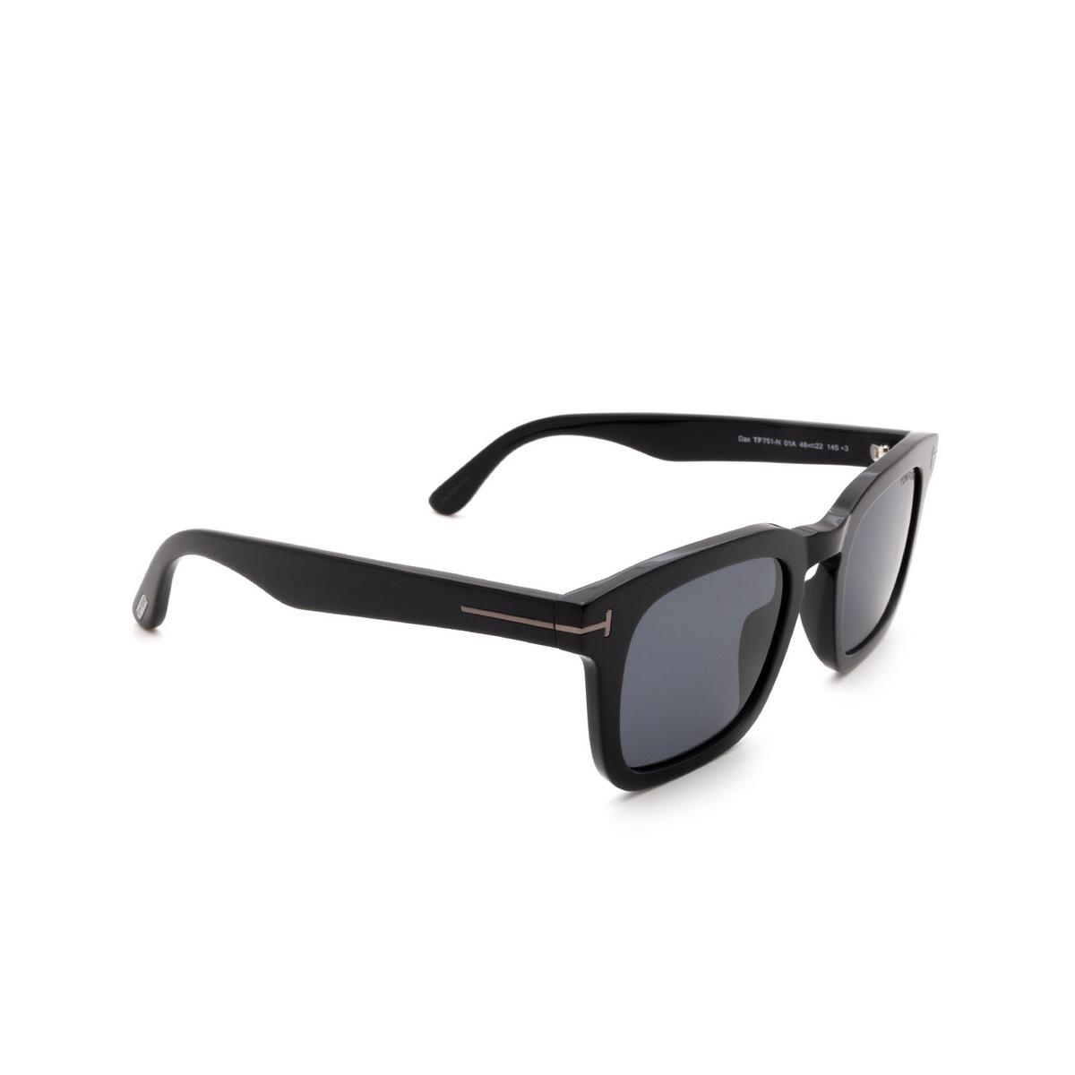 Tom Ford® Square Sunglasses: Dax FT0751-N color Shiny Black 01A - three-quarters view.