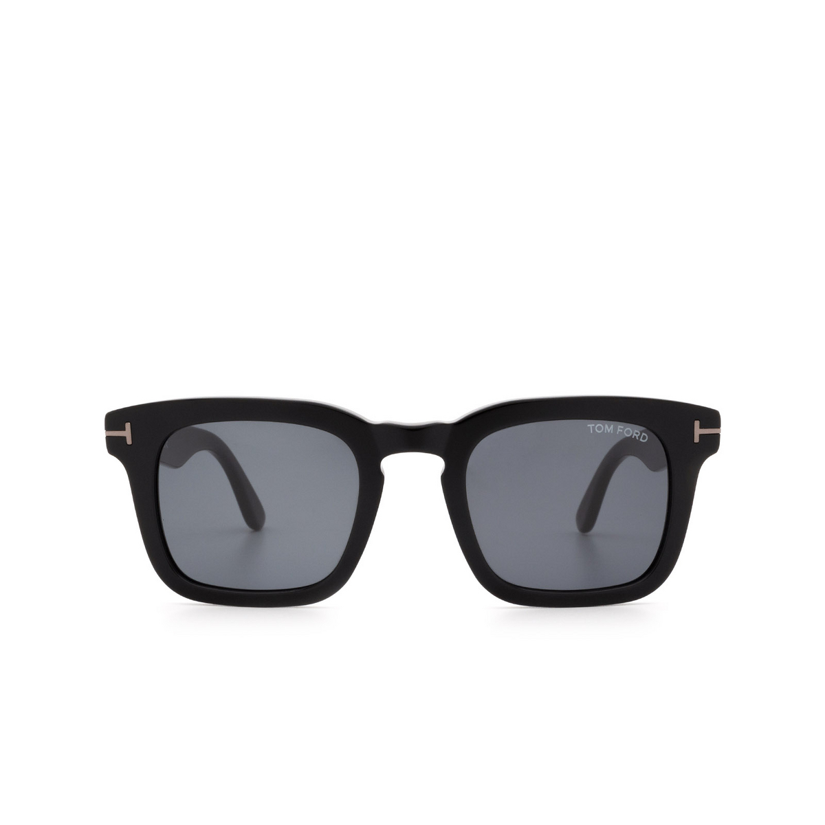 Tom Ford® Square Sunglasses: Dax FT0751-N color Shiny Black 01A - front view.