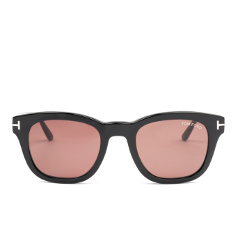 Tom Ford® Square Sunglasses: Eugenio FT0676 color Shiny Black 01E.