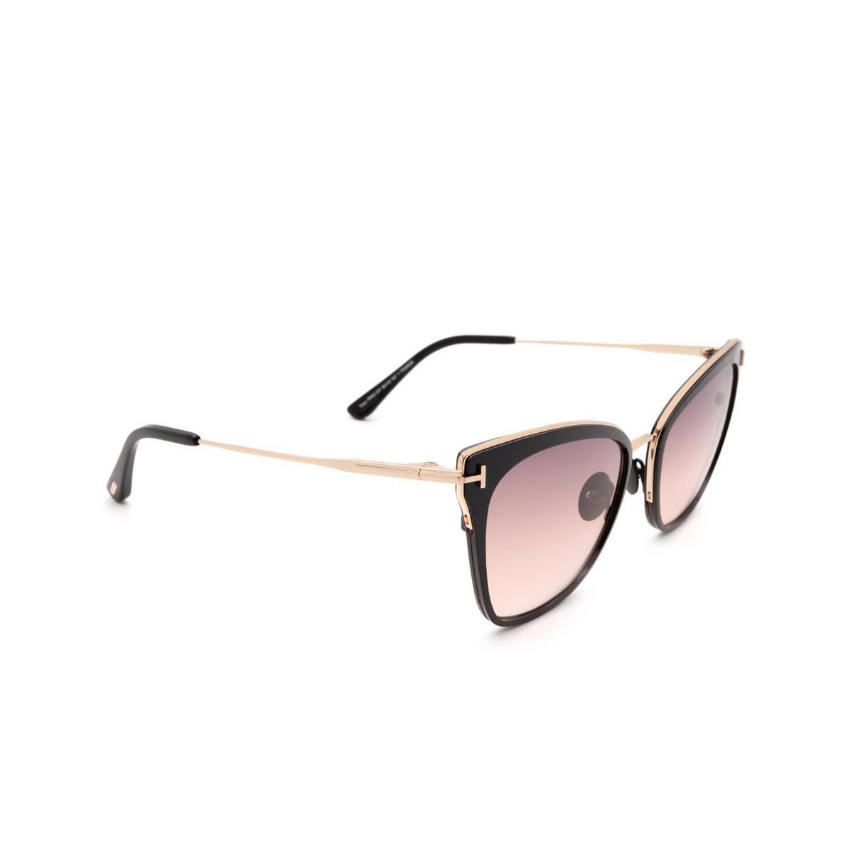 Tom Ford® Cat-eye Sunglasses: Faryn FT0843 color Shiny Black 01F.