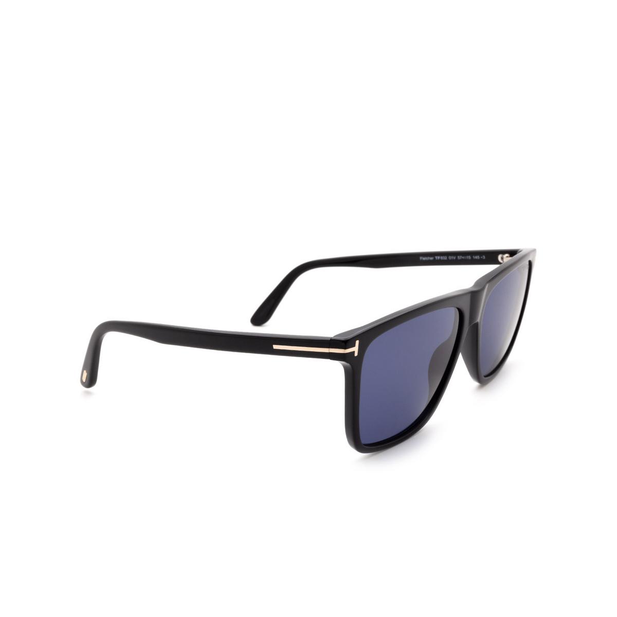Tom Ford® Square Sunglasses: Fletcher FT0832 color Shiny Black 01V.