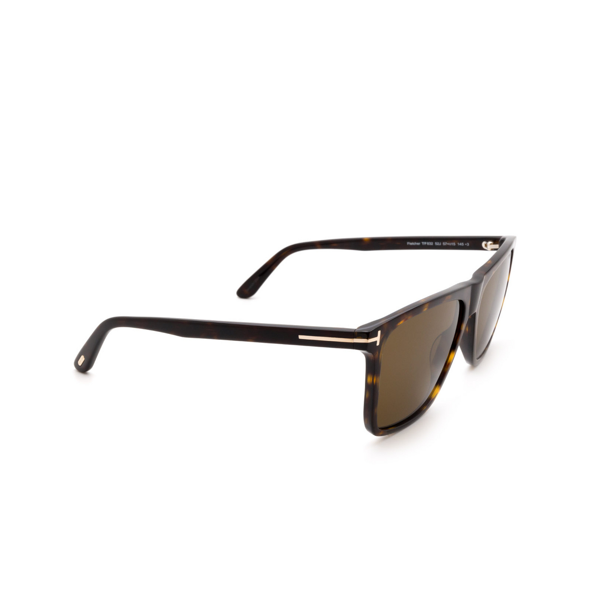Tom Ford® Square Sunglasses: Fletcher FT0832 color Dark Havana 52J - three-quarters view.