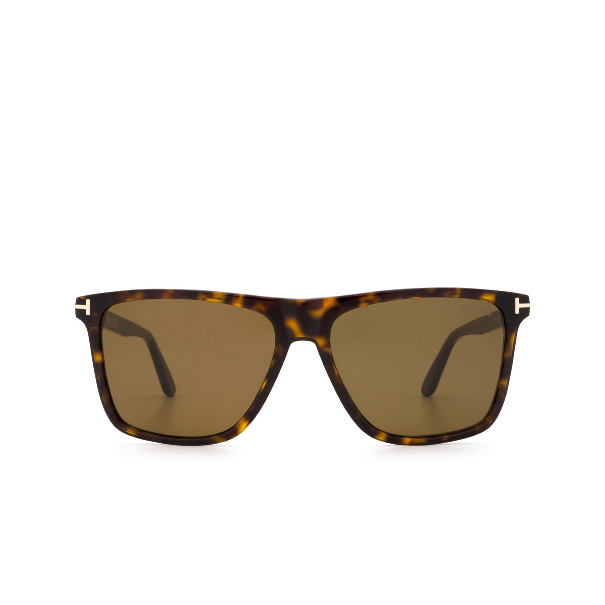 Tom Ford® Square Sunglasses: Fletcher FT0832 color Dark Havana 52J - front view.