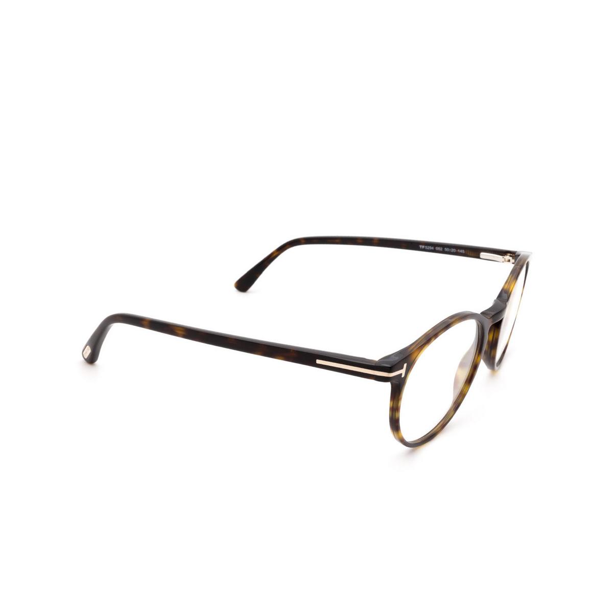 Tom Ford® Round Eyeglasses: FT5294 color Dark Havana 052 - three-quarters view.