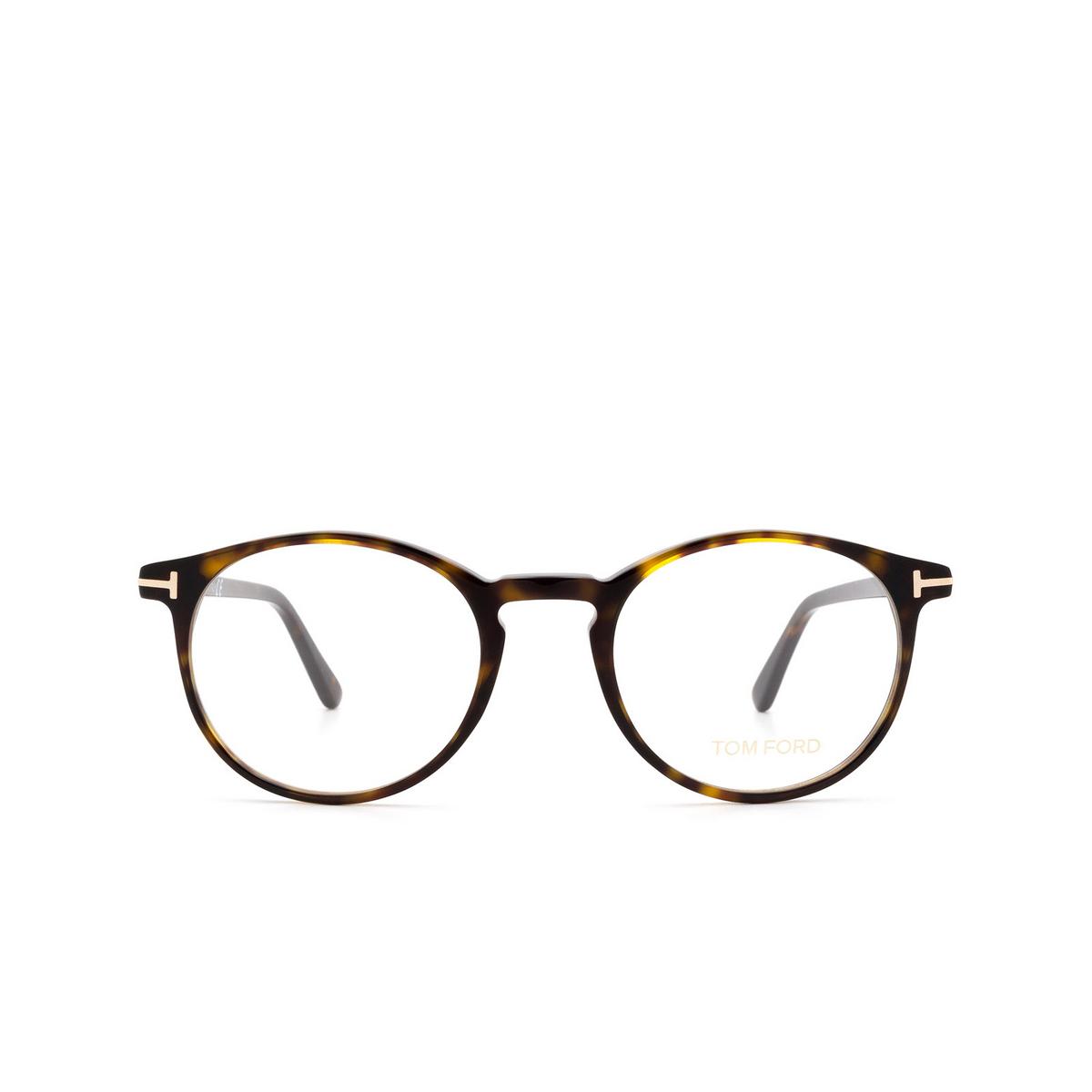 Tom Ford® Round Eyeglasses: FT5294 color Dark Havana 052 - front view.