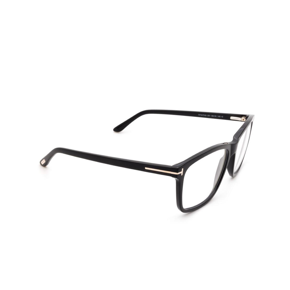 Tom Ford® Square Eyeglasses: FT5479-B color Shiny Black 001 - three-quarters view.