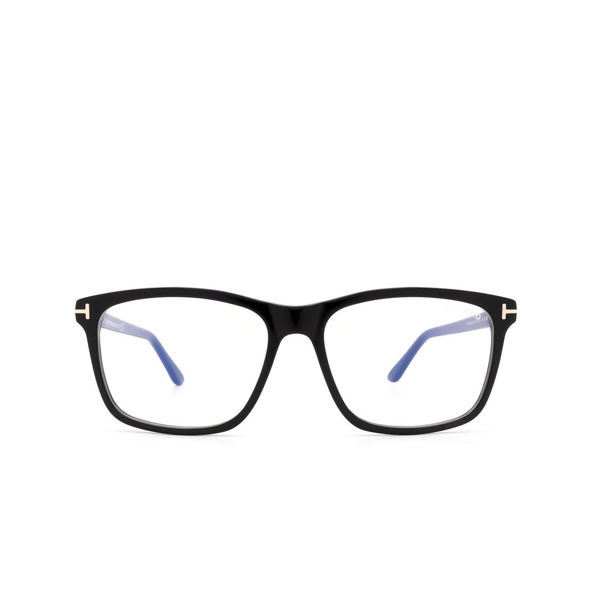 Tom Ford® Square Eyeglasses: FT5479-B color Shiny Black 001 - front view.