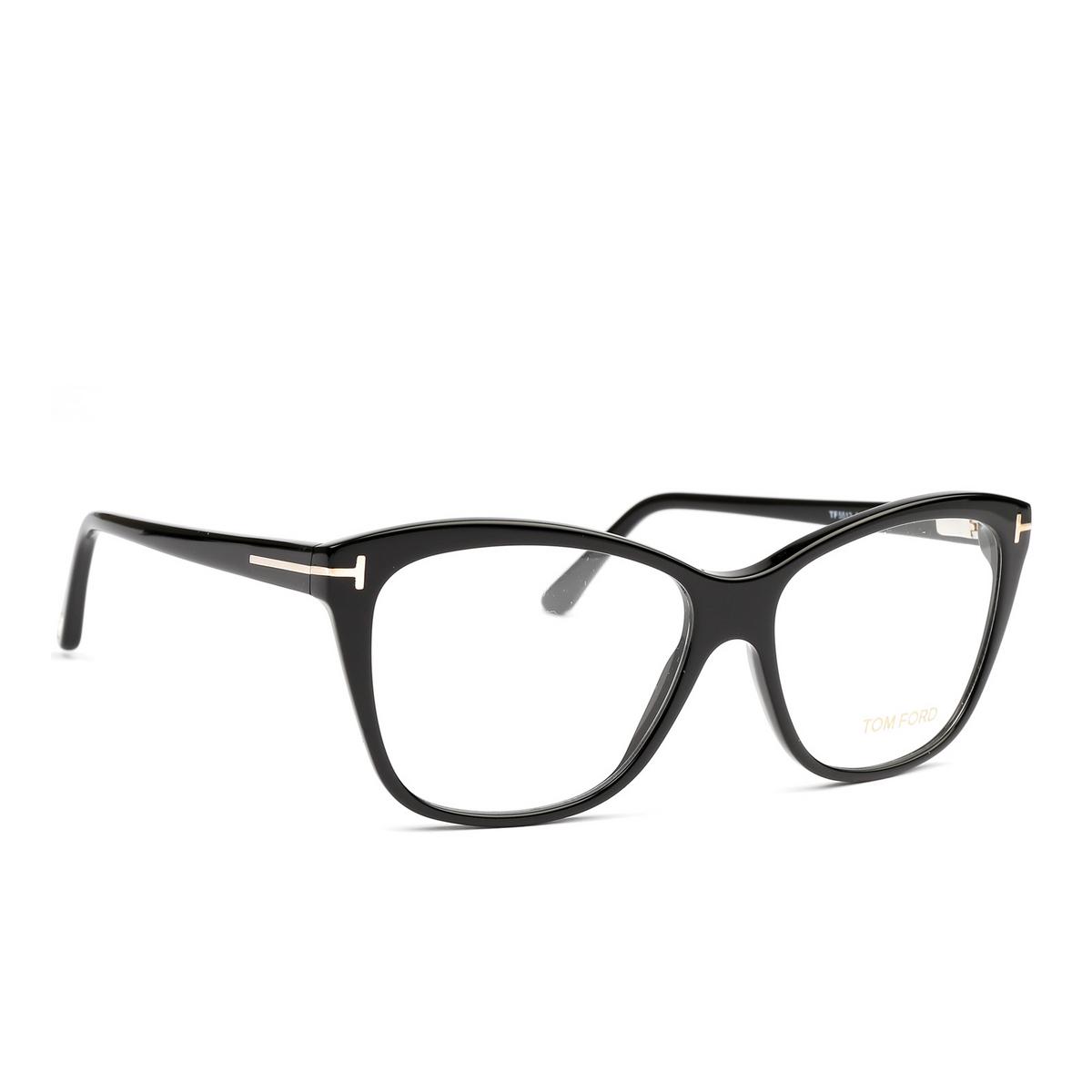 Tom Ford® Square Eyeglasses: FT5512 color Black 001 - three-quarters view.