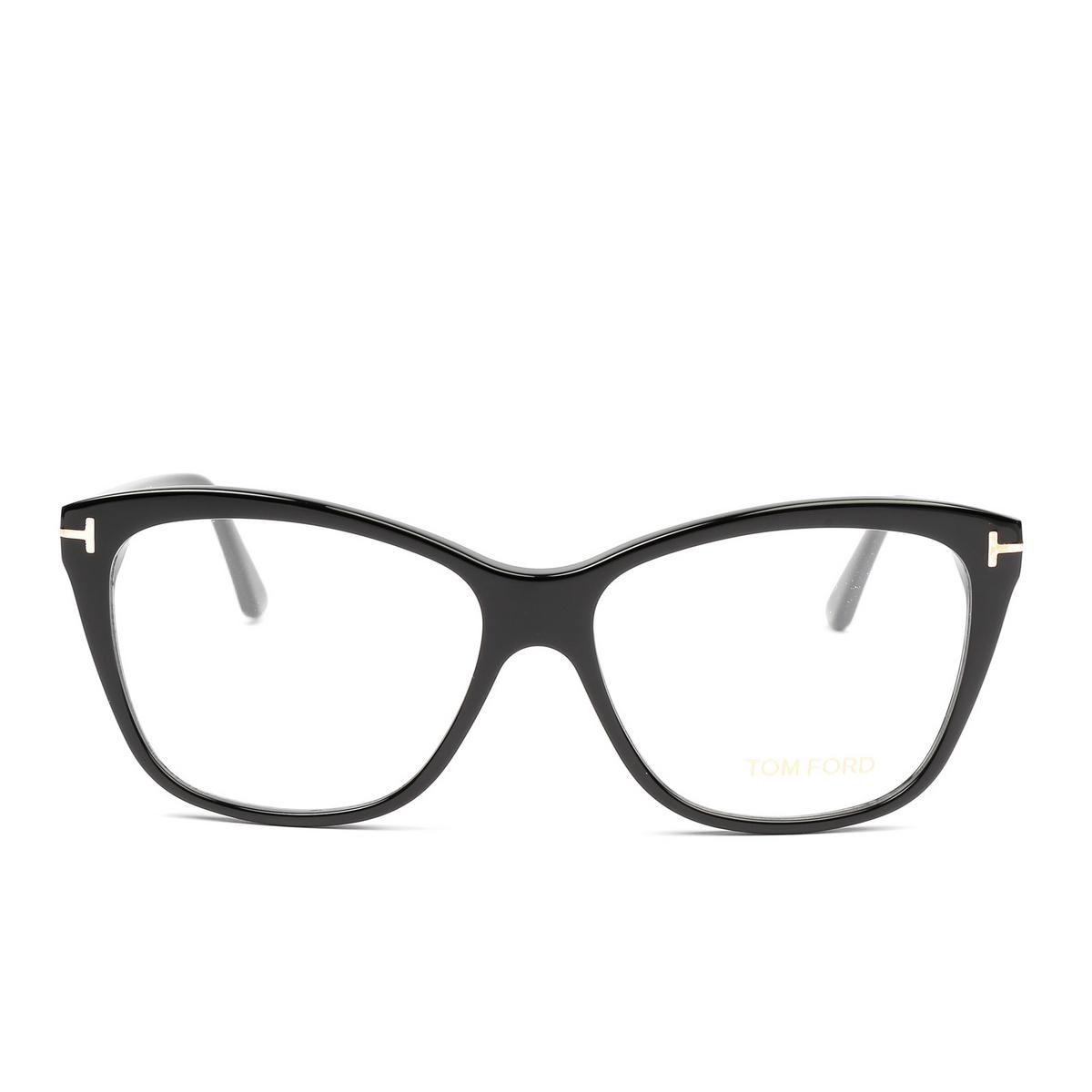 Tom Ford® Square Eyeglasses: FT5512 color Black 001 - front view.