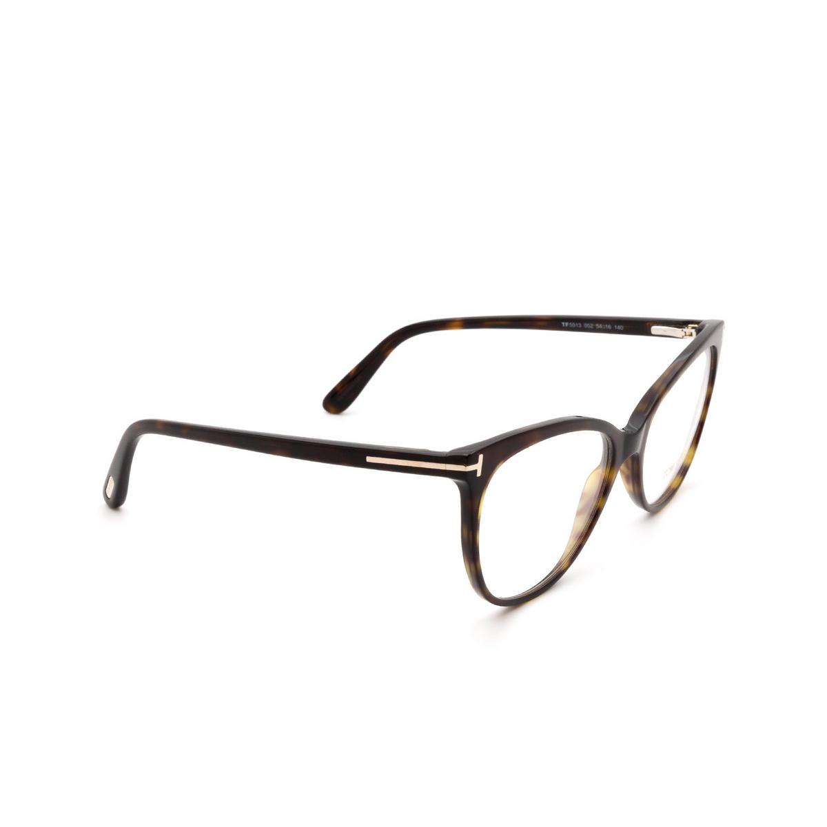 Tom Ford® Cat-eye Eyeglasses: FT5513 color Dark Havana 052 - three-quarters view.