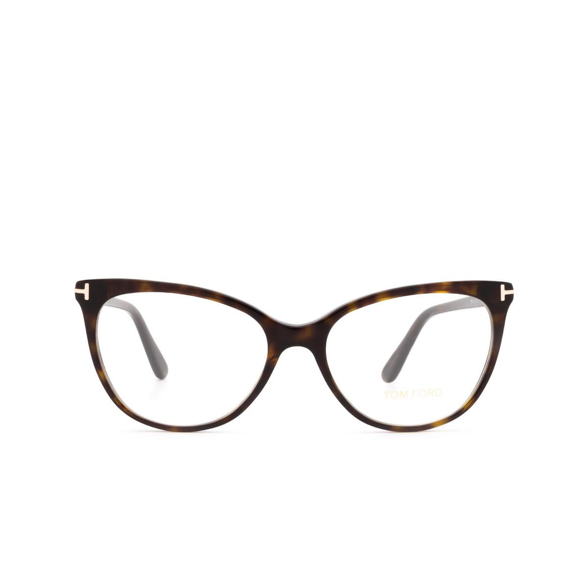 Tom Ford® Cat-eye Eyeglasses: FT5513 color Dark Havana 052 - front view.