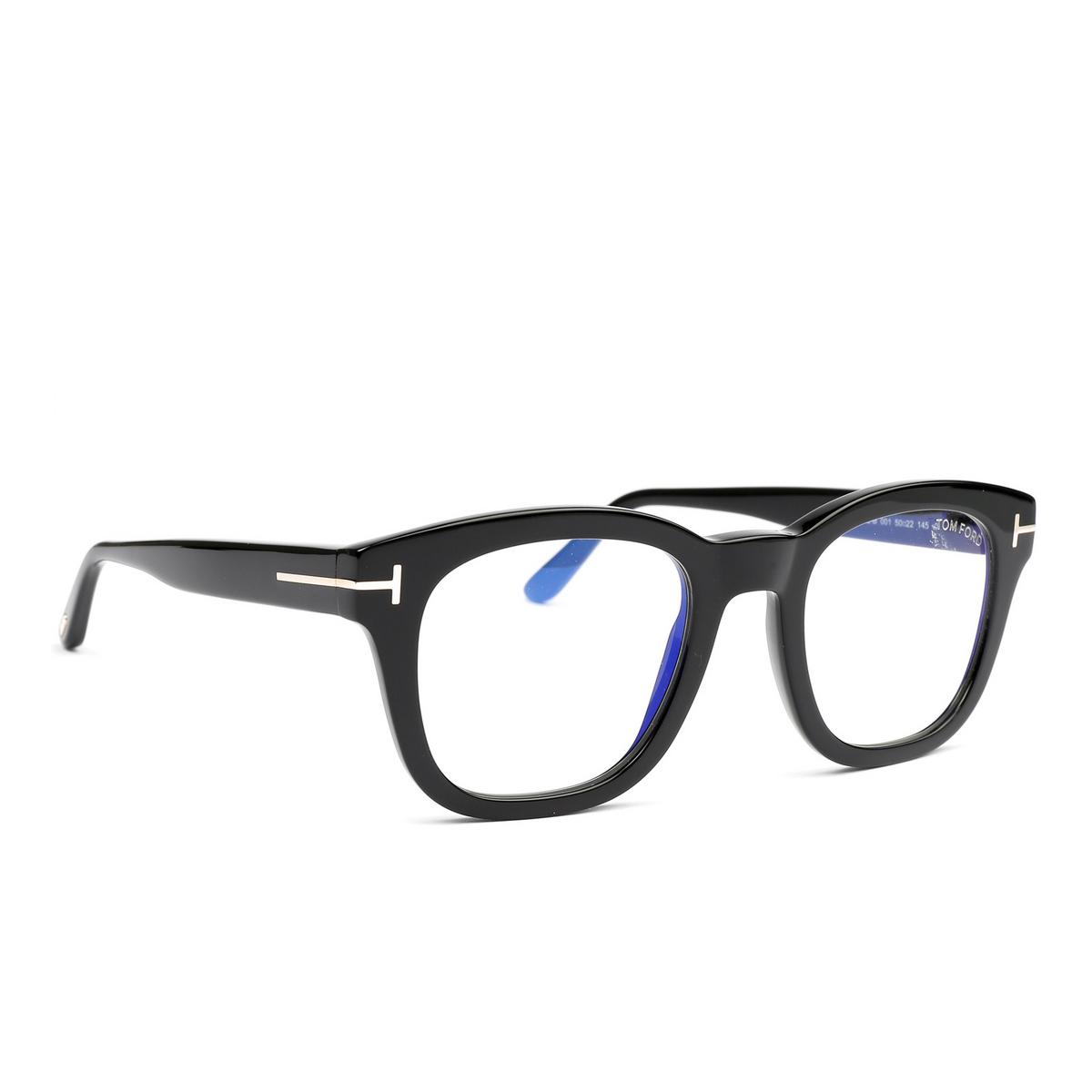 Tom Ford® Square Eyeglasses: FT5542-B color Black 001 - three-quarters view.