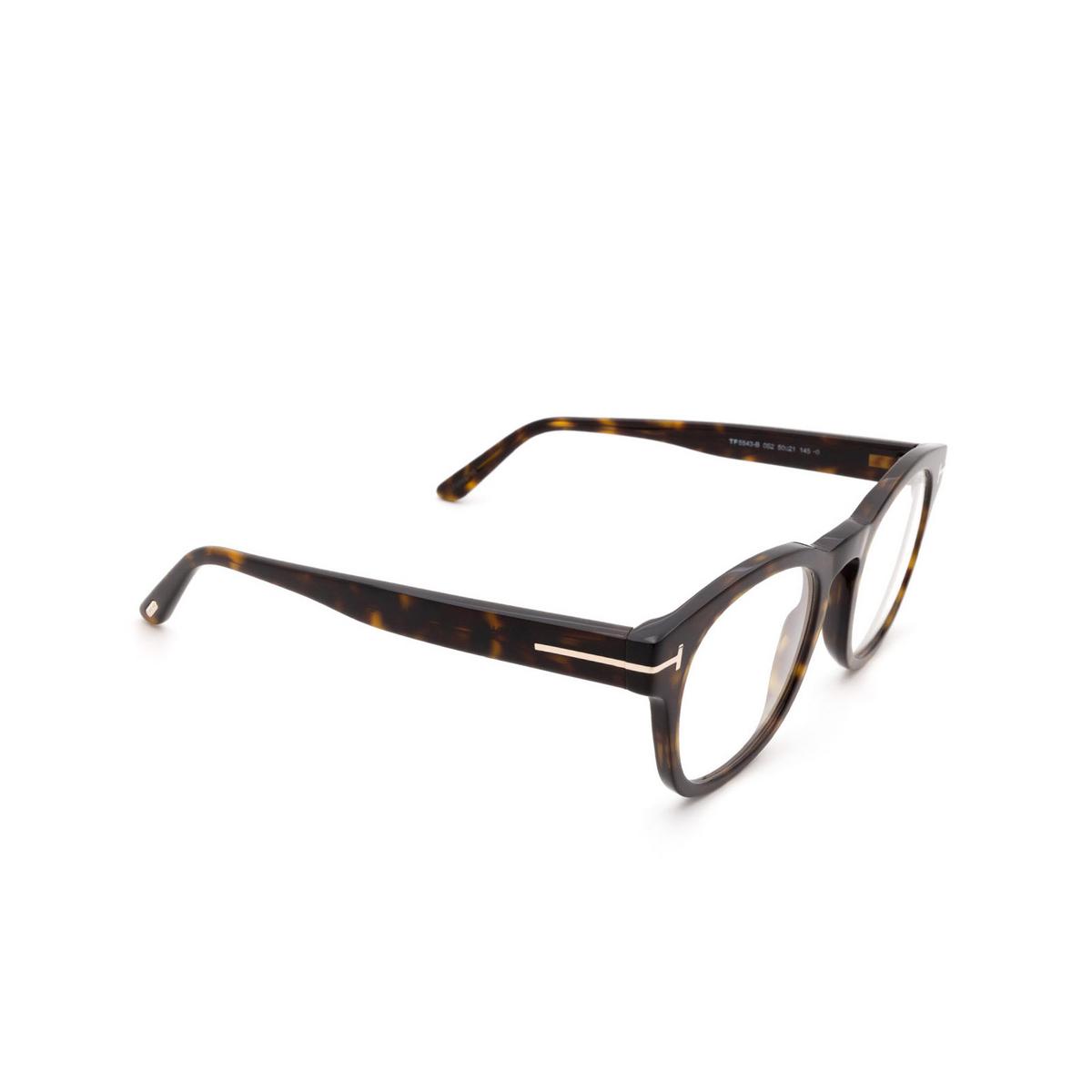 Tom Ford® Square Eyeglasses: FT5543-B color Dark Havana 052 - three-quarters view.