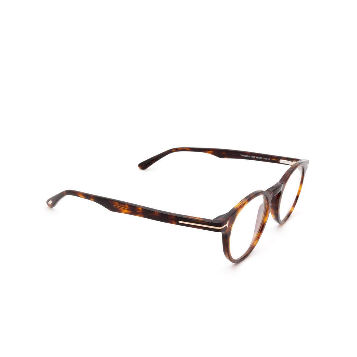 Tom Ford® Round Eyeglasses: FT5557-B color Dark Havana 052 - three-quarters view.
