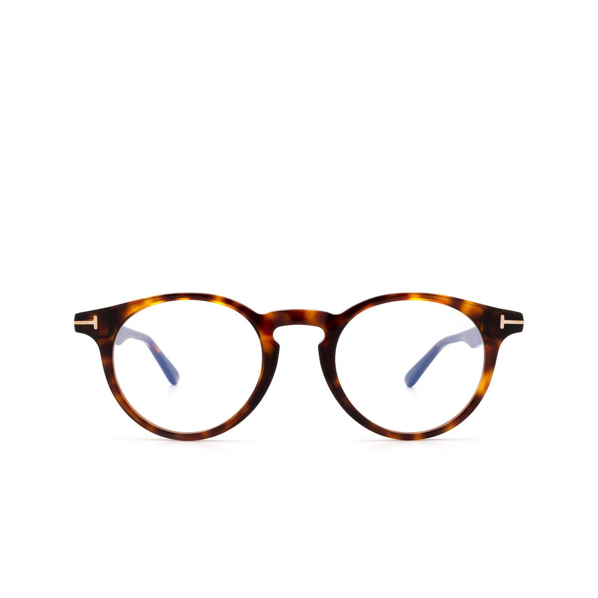 Tom Ford® Round Eyeglasses: FT5557-B color Dark Havana 052 - front view.