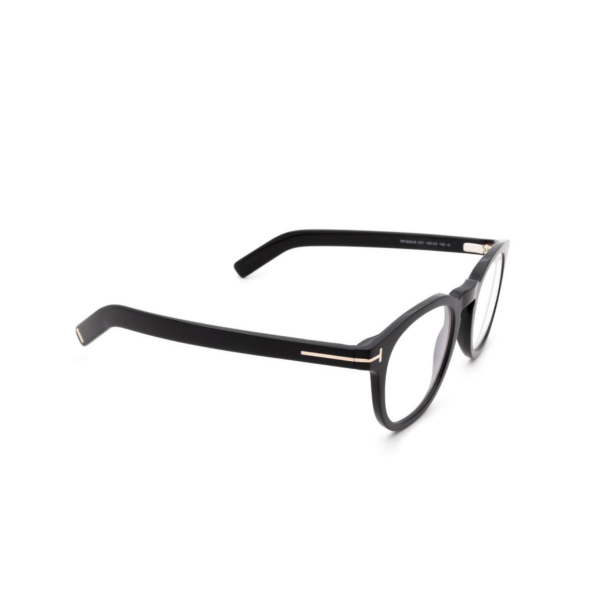 Tom Ford® Square Eyeglasses: FT5629-B color Shiny Black 001 - three-quarters view.