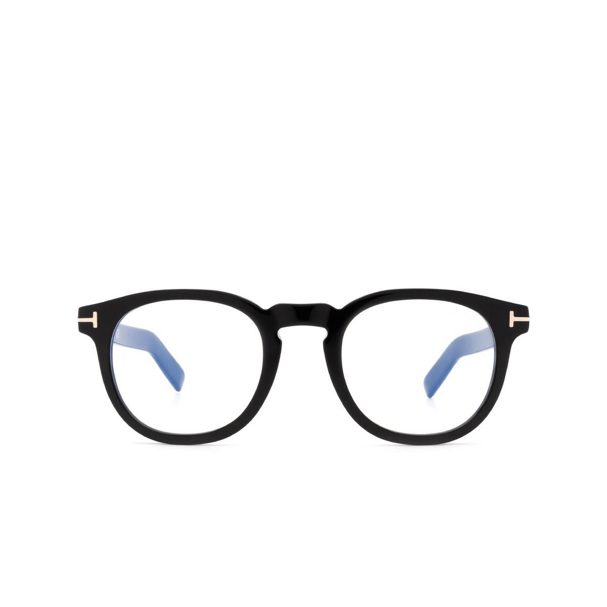 Tom Ford® Square Eyeglasses: FT5629-B color Shiny Black 001 - front view.