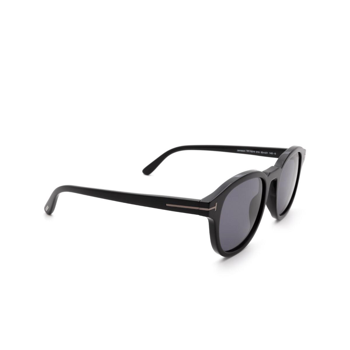 Tom Ford® Square Sunglasses: Jameson FT0752-N color Black 01A - three-quarters view.
