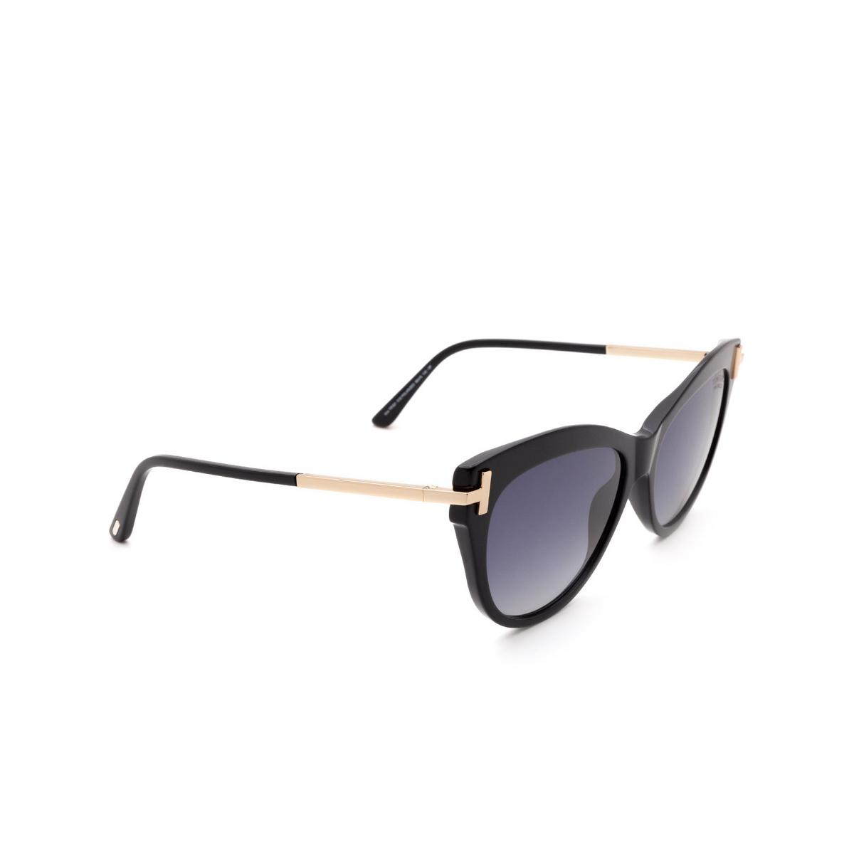 Tom Ford® Cat-eye Sunglasses: Kira FT0821 color Black 01D.