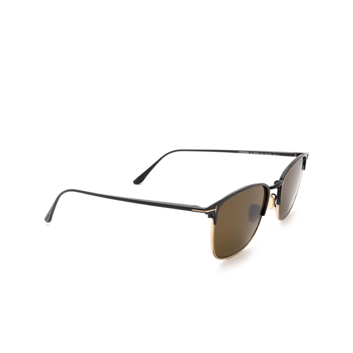 Tom Ford® Square Sunglasses: Liv FT0851 color Black 01J - three-quarters view.