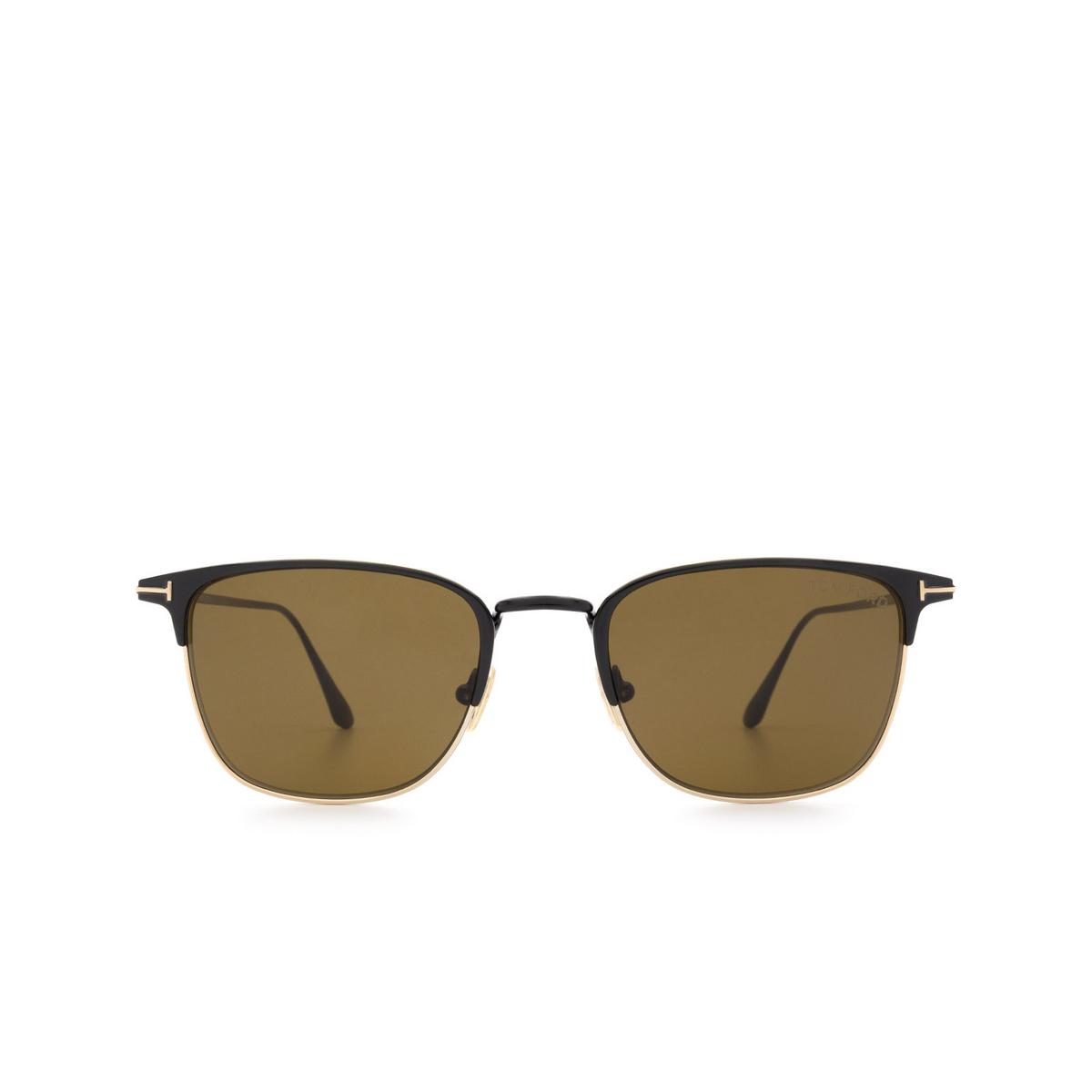Tom Ford® Square Sunglasses: Liv FT0851 color Black 01J - front view.