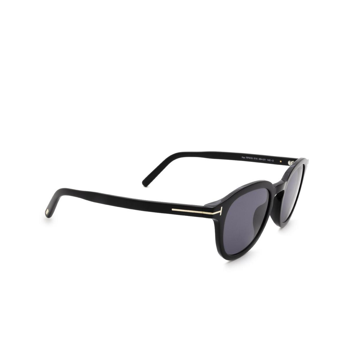 Tom Ford® Square Sunglasses: Pax FT0816 color Shiny Black 01A.