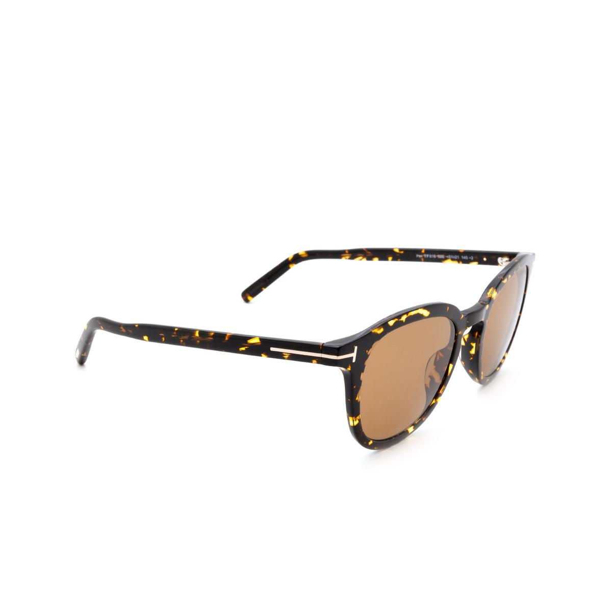 Tom Ford® Square Sunglasses: Pax FT0816 color Dark Havana 52E - three-quarters view.