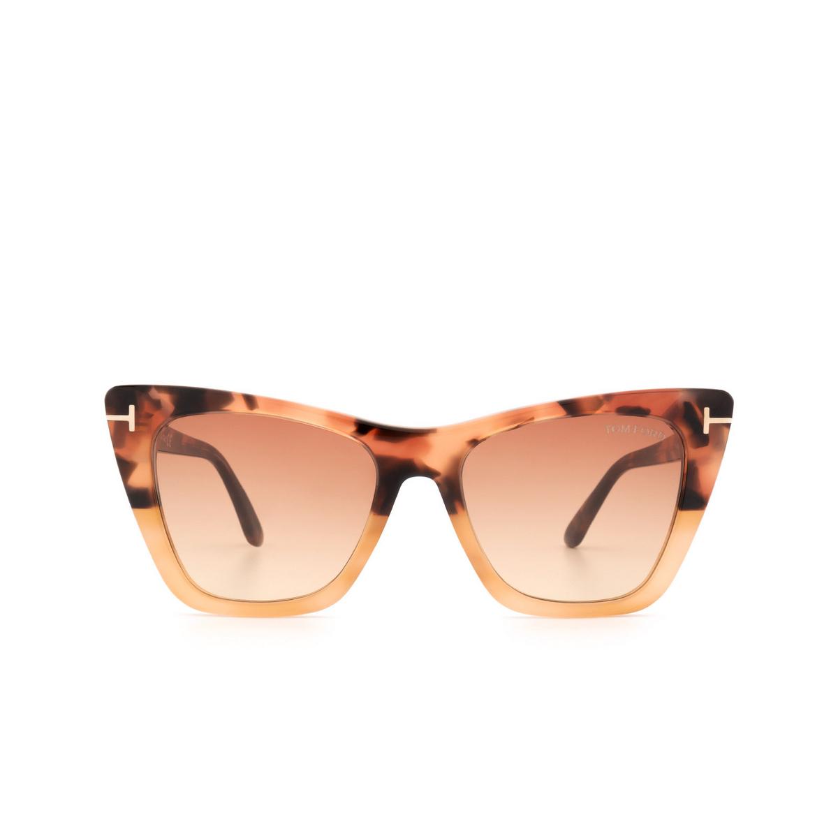 Tom Ford® Cat-eye Sunglasses: Poppy-02 FT0846 color Havana Gradient 56T.