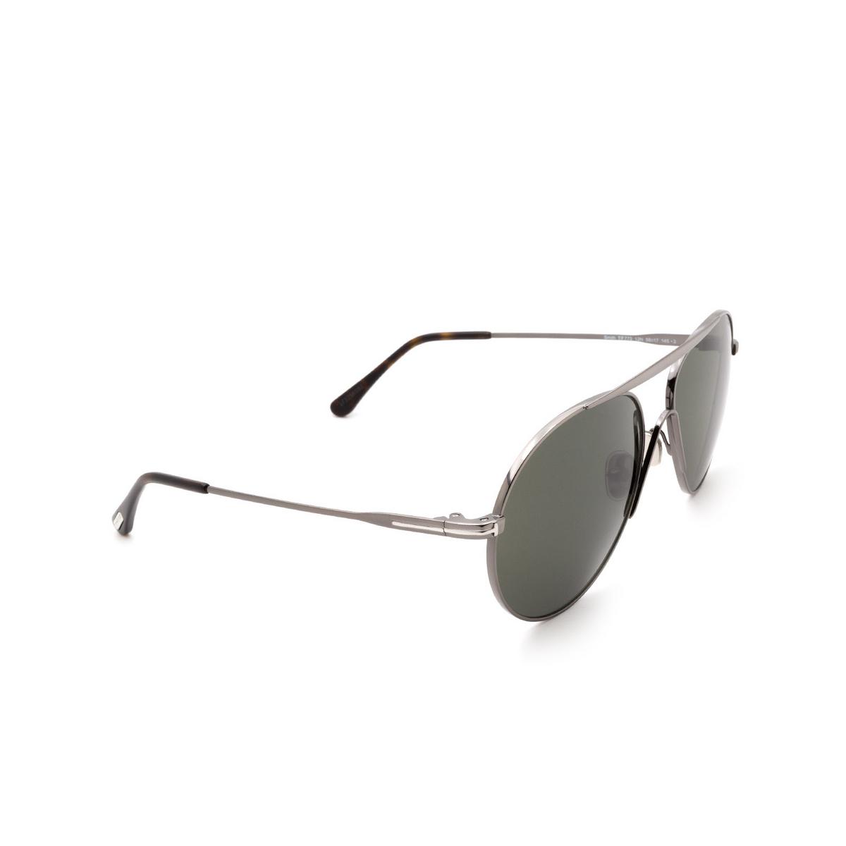 Tom Ford® Aviator Sunglasses: Smith FT0773 color Shiny Dark Ruthenium 12N - three-quarters view.