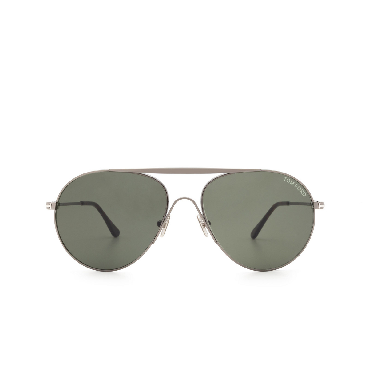 Tom Ford® Aviator Sunglasses: Smith FT0773 color Shiny Dark Ruthenium 12N - front view.