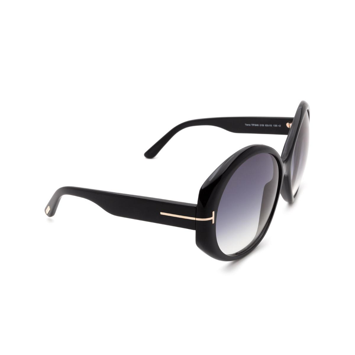 Tom Ford® Round Sunglasses: Terra FT0848 color Shiny Black 01B.