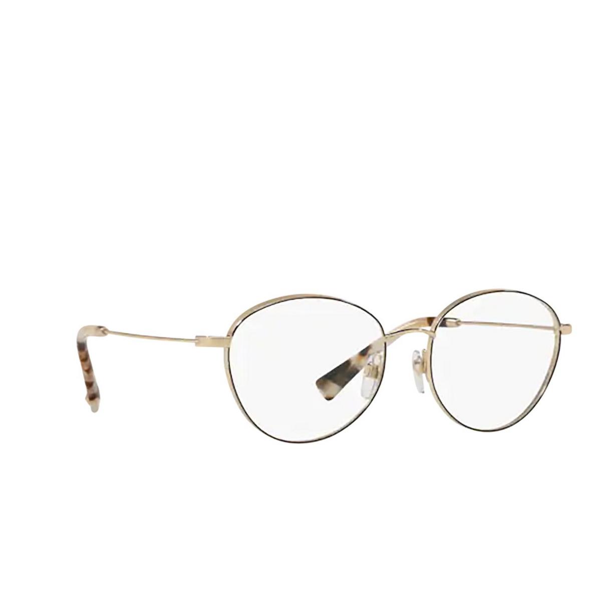 Valentino® Oval Eyeglasses: VA1003 color Pale Gold / Black 3003 - three-quarters view.