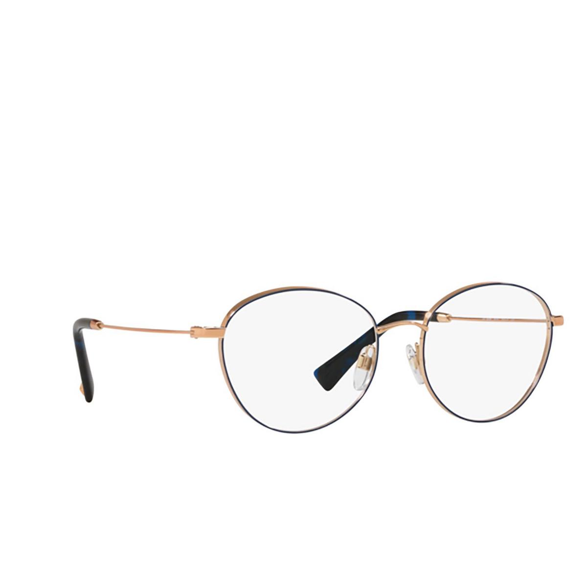 Valentino® Oval Eyeglasses: VA1003 color Rose Gold / Blue 3031 - three-quarters view.