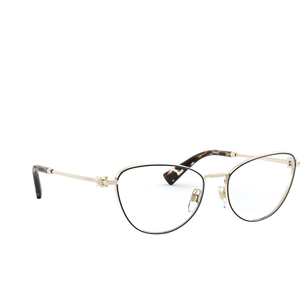 Valentino® Cat-eye Eyeglasses: VA1016 color Pale Gold / Black 3053 - three-quarters view.