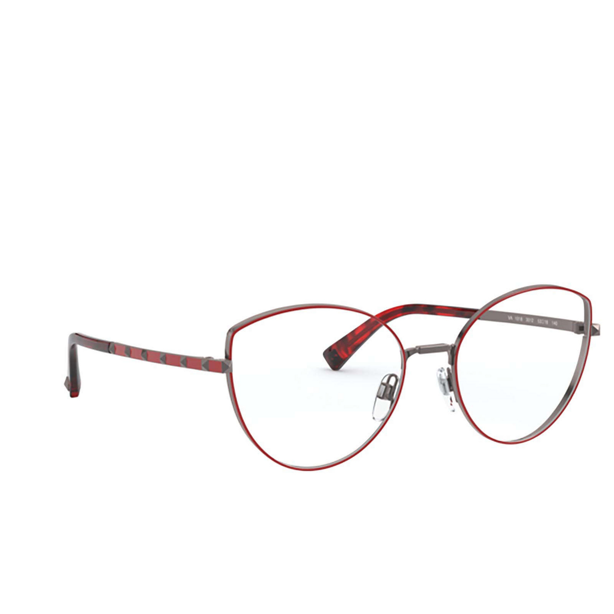 Valentino® Cat-eye Eyeglasses: VA1018 color Gunmetal / Red 3012 - three-quarters view.