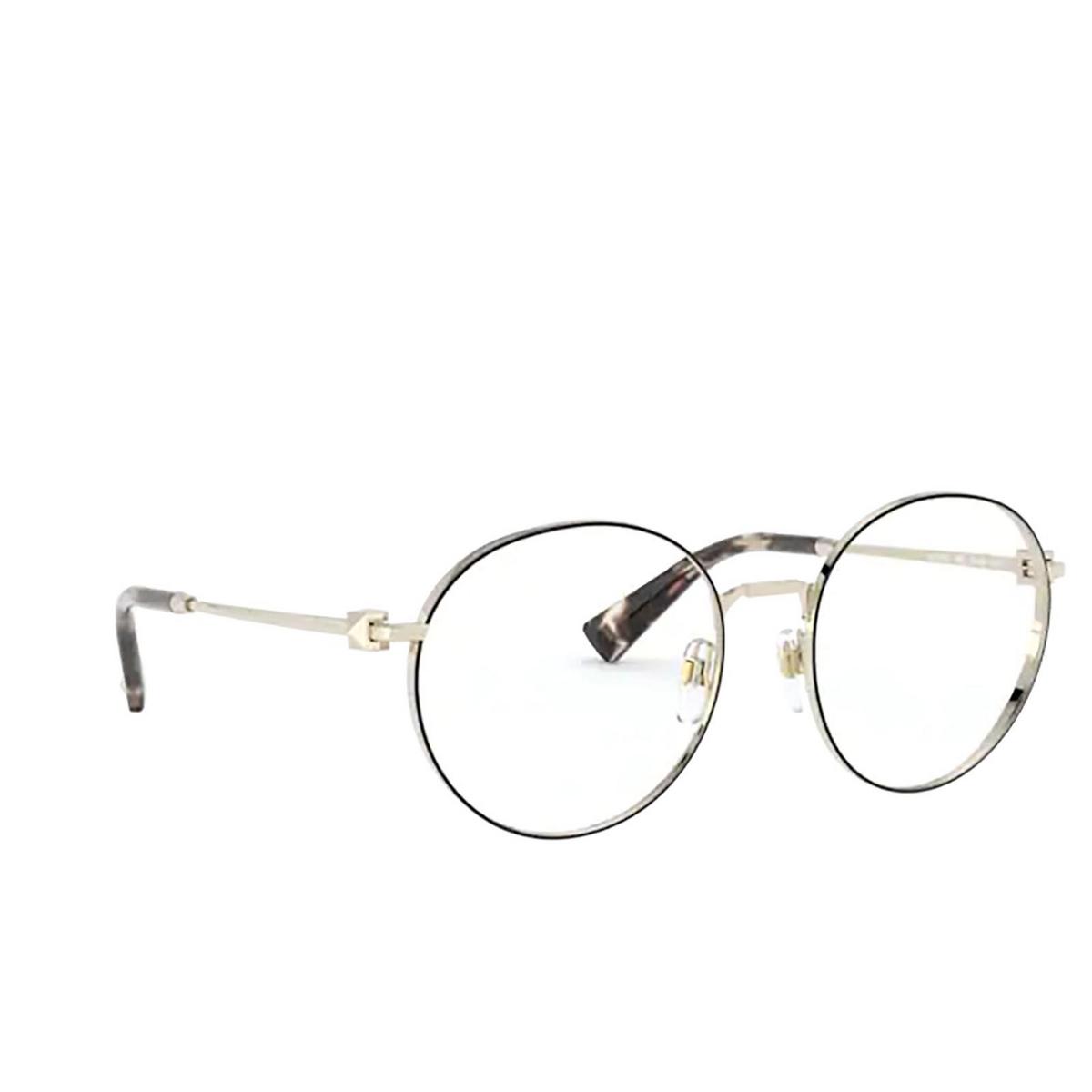 Valentino® Round Eyeglasses: VA1020 color Pale Gold / Black 3003 - three-quarters view.