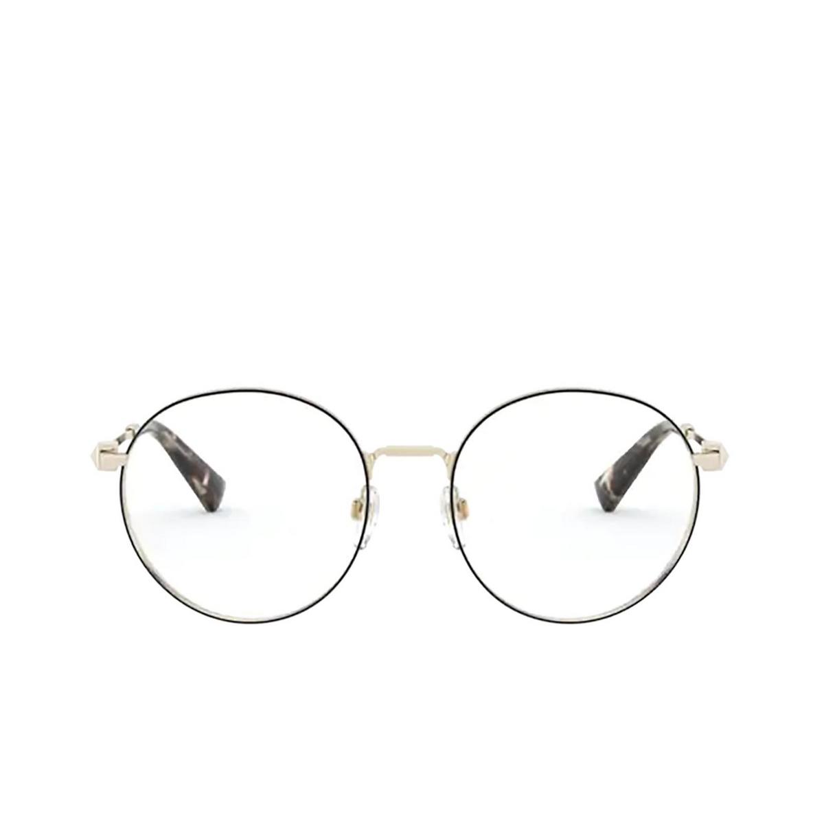 Valentino® Round Eyeglasses: VA1020 color Pale Gold / Black 3003 - front view.
