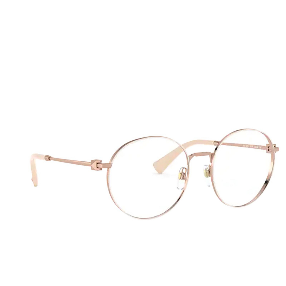 Valentino® Round Eyeglasses: VA1020 color Rose Gold / Beige 3013 - three-quarters view.