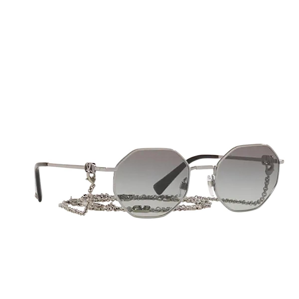 Valentino® Irregular Sunglasses: VA2040 color Gunmetal 300511 - three-quarters view.