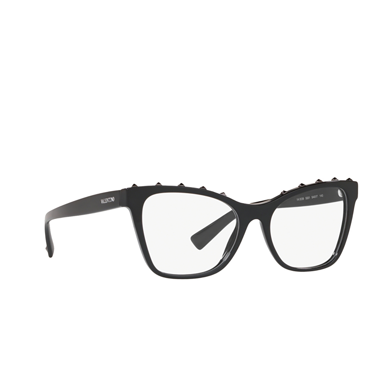 Valentino® Square Eyeglasses: VA3039 color Black 5001 - three-quarters view.
