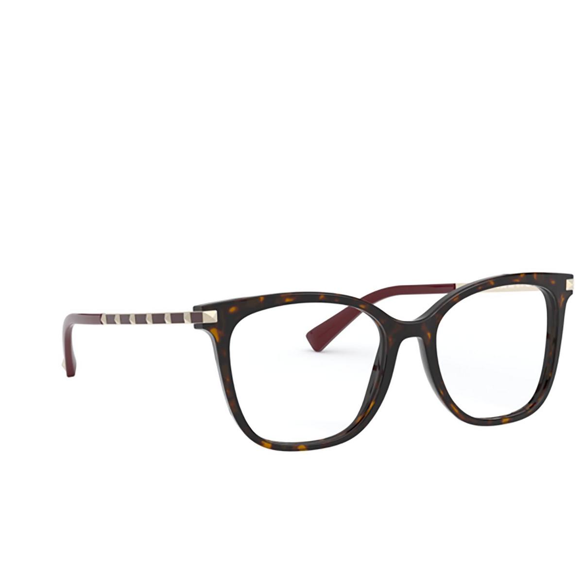 Valentino® Square Eyeglasses: VA3048 color Havana 5002 - three-quarters view.
