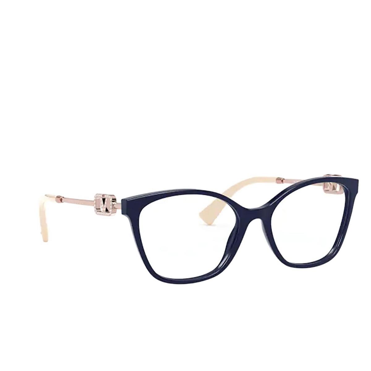 Valentino® Butterfly Eyeglasses: VA3050 color Blue 5034 - three-quarters view.
