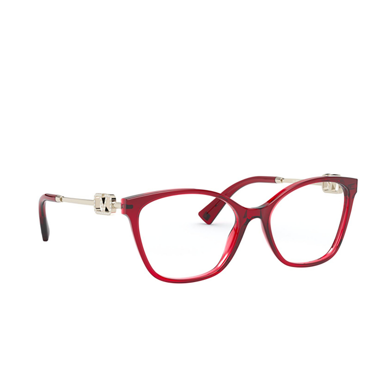 Valentino® Butterfly Eyeglasses: VA3050 color Opal Red 5121 - three-quarters view.